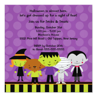 Invitación linda del fiesta del traje de Halloween