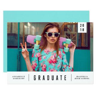Invitación lisa mínima de la foto de la graduación