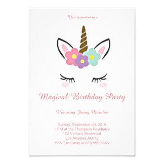 Invitación mágica del cumpleaños del unicornio