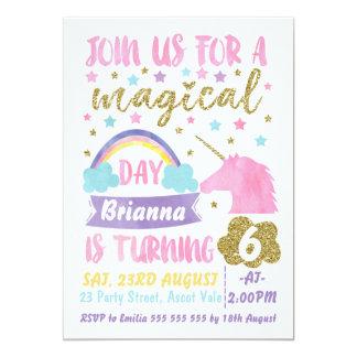 Invitación mágica del cumpleaños del unicornio de