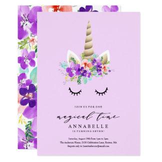 Invitación mágica del cumpleaños del unicornio del
