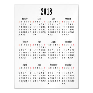 Invitación Magnética Calendario en blanco 2018