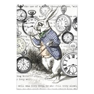 Invitación Magnética Conejo blanco Alicia en tiempo del país de las