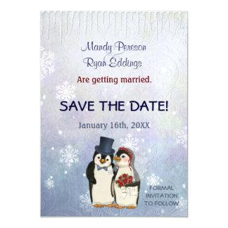 Invitación Magnética Copos de nieve del invierno del pingüino que casan