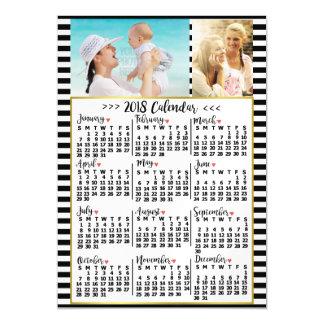 Invitación Magnética El calendario mensual de 2018 años raya las fotos