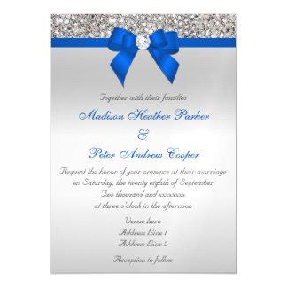 Invitación Magnética Falso boda de plata del azul de cobalto de los