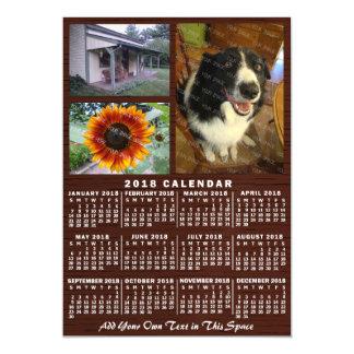 Invitación Magnética Fotos de madera del personalizado 3 del calendario
