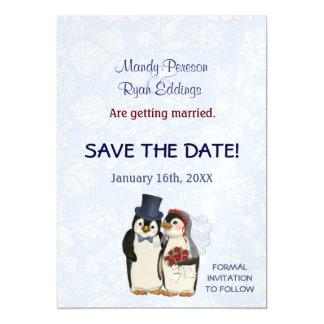 Invitación Magnética Invierno del pingüino que casa reserva magnética