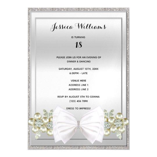 Invitación Magnética Lentejuelas De Plata Y Cumpleaños Floral Del Arco