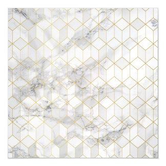 Invitación Magnética Mármol blanco con el modelo del cubo del oro