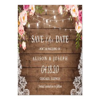 Invitación Magnética Reserva floral rústica romántica de la luz de la