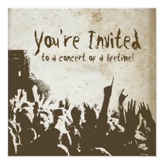 Invitación manchada retra del concierto de rock