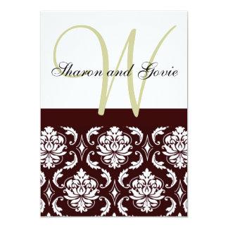 Invitación marrón del boda del monograma del
