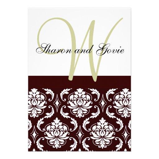 Invitación marrón del boda del monograma del damas