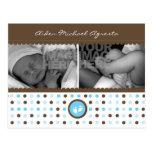 invitación marrón y azul del nacimiento tarjetas postales