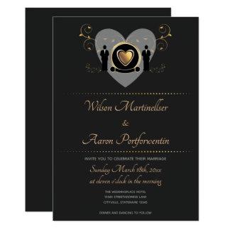 Invitación masculina del boda el | del corazón del