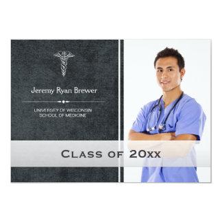 Invitación médica de la foto de la graduación de