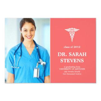 Invitación médica de la foto de la graduación del invitación 12,7 x 17,8 cm