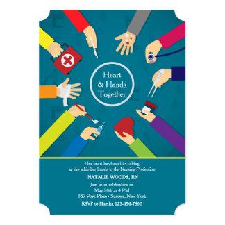 Invitación médica de la graduación de las manos invitación 12,7 x 17,8 cm