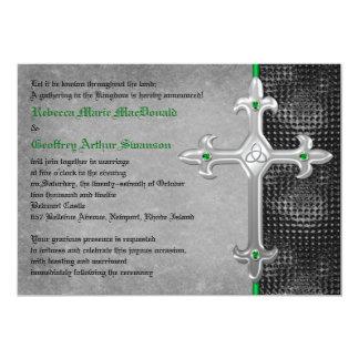 Invitación medieval esmeralda del boda de la cruz
