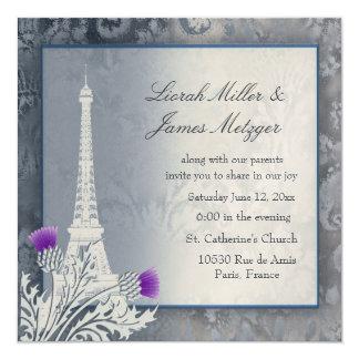 Invitación metálica de oro de la torre Eiffel