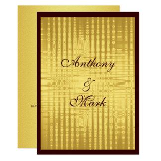 Invitación metálica del boda del oro