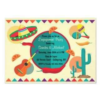 Invitación mexicana del fiesta de compromiso del