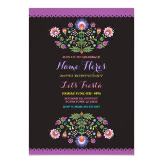 Invitación mexicana floral del cumpleaños de la