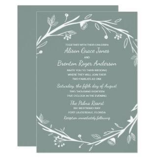 Invitación mezclada del boda de la guirnalda del