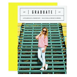 Invitación mínima de la foto de la graduación
