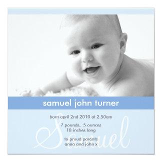 Invitación minimalista azul linda de la foto del