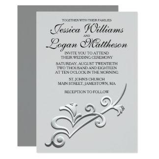 Invitación minimalista gris, negra y de plata del