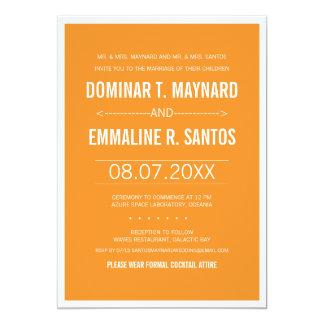 Invitación minimalista moderna anaranjada del boda