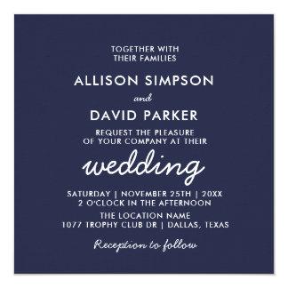 Invitación minimalista moderna blanca del boda de