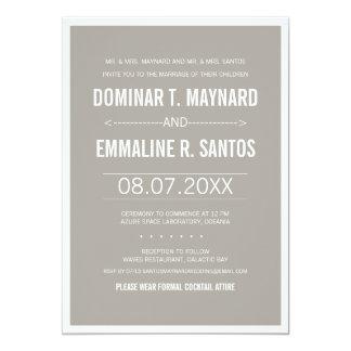 Invitación minimalista moderna gris del boda