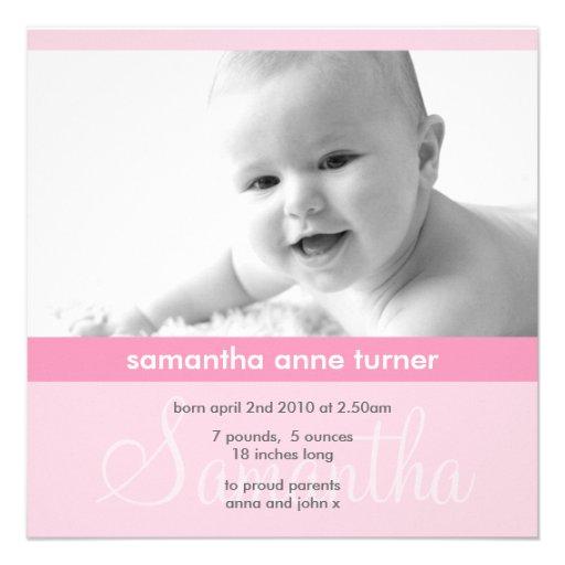 Invitación minimalista rosada linda de la foto de