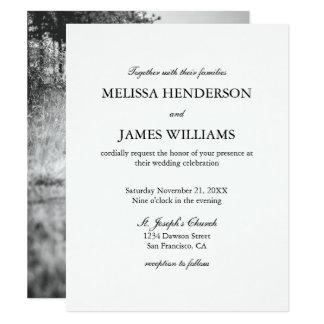Invitación minimalista simple del boda de la foto