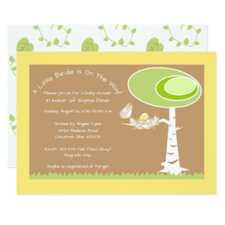 Yellow Modern Forest Baby Shower Invitation