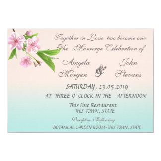 Invitación moderna bonita del boda del cerezo