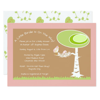Pink Girl Modern Forest Baby Shower Invitation