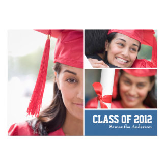 Invitación moderna de la graduación de 3 fotos - a