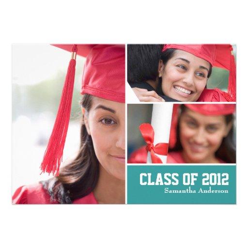 Invitación moderna de la graduación de 3 fotos - t