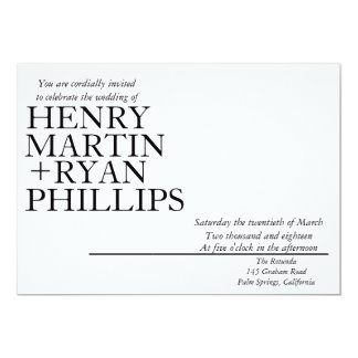 Invitación moderna del boda de la tipografía