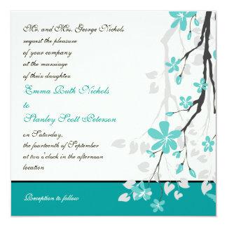 Invitación moderna del boda de la turquesa de la