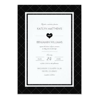 Invitación moderna del boda del corazón - blanco y