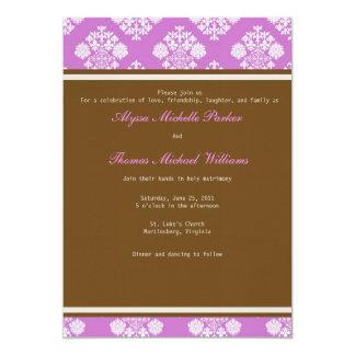 Invitación moderna del boda del damasco (violeta)