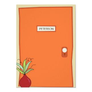 Invitación móvil de la puerta anaranjada