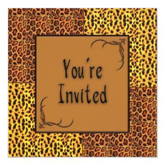 Invitación multi del estampado de animales del invitación 13,3 cm x 13,3cm