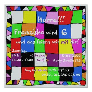 Invitación multicolor de cumpleaños II