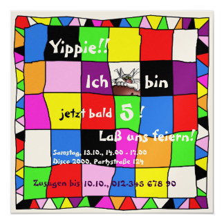 Invitación multicolor de cumpleaños III